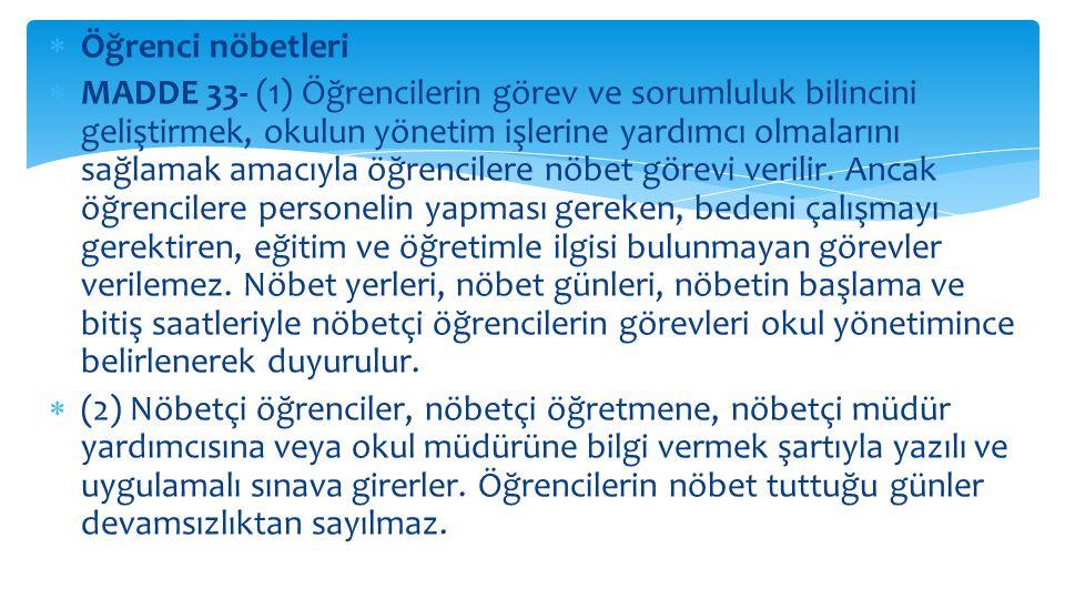 Disiplin cezasını gerektiren davranış ve fiiller (4) Örgün eğitim dışına çıkarma cezasını gerektiren davranışlar; a) Türk Bayrağına, ülkeyi, milleti ve devleti temsil eden sembollere hakaret etmek, b) Türkiye Cumhuriyeti nin devleti ve milletiyle bölünmez bütünlüğü ilkesine ve Türkiye Cumhuriyetinin insan haklarına ve Anayasanın başlangıcında belirtilen temel ilkelere dayalı millî, demokratik, laik ve sosyal bir hukuk devleti niteliklerine aykırı miting, forum, direniş, yürüyüş, boykot ve işgal gibi ferdi veya toplu eylemler düzenlemek; düzenlenmesini kışkırtmak ve düzenlenmiş bu gibi eylemlere etkin olarak katılmak veya katılmaya zorlamak, c) Kişileri veya grupları; dil, ırk, cinsiyet, siyasi düşünce, felsefi ve dini inançlarına göre ayırmayı, kınamayı, kötülemeyi amaçlayan bölücü ve yıkıcı toplu eylemler düzenlemek, katılmak, bu eylemlerin organizasyonunda yer almak, ç) Kurul ve komisyonların çalışmasını tehdit veya zor kullanarak engellemek, d) Bağımlılık yapan zararlı maddelerin ticaretini yapmak, e) Okul ve eklentilerinde güvenlik güçlerince aranan kişileri saklamak ve barındırmak, f) Eğitim ve öğretim ortamını işgal etmek,