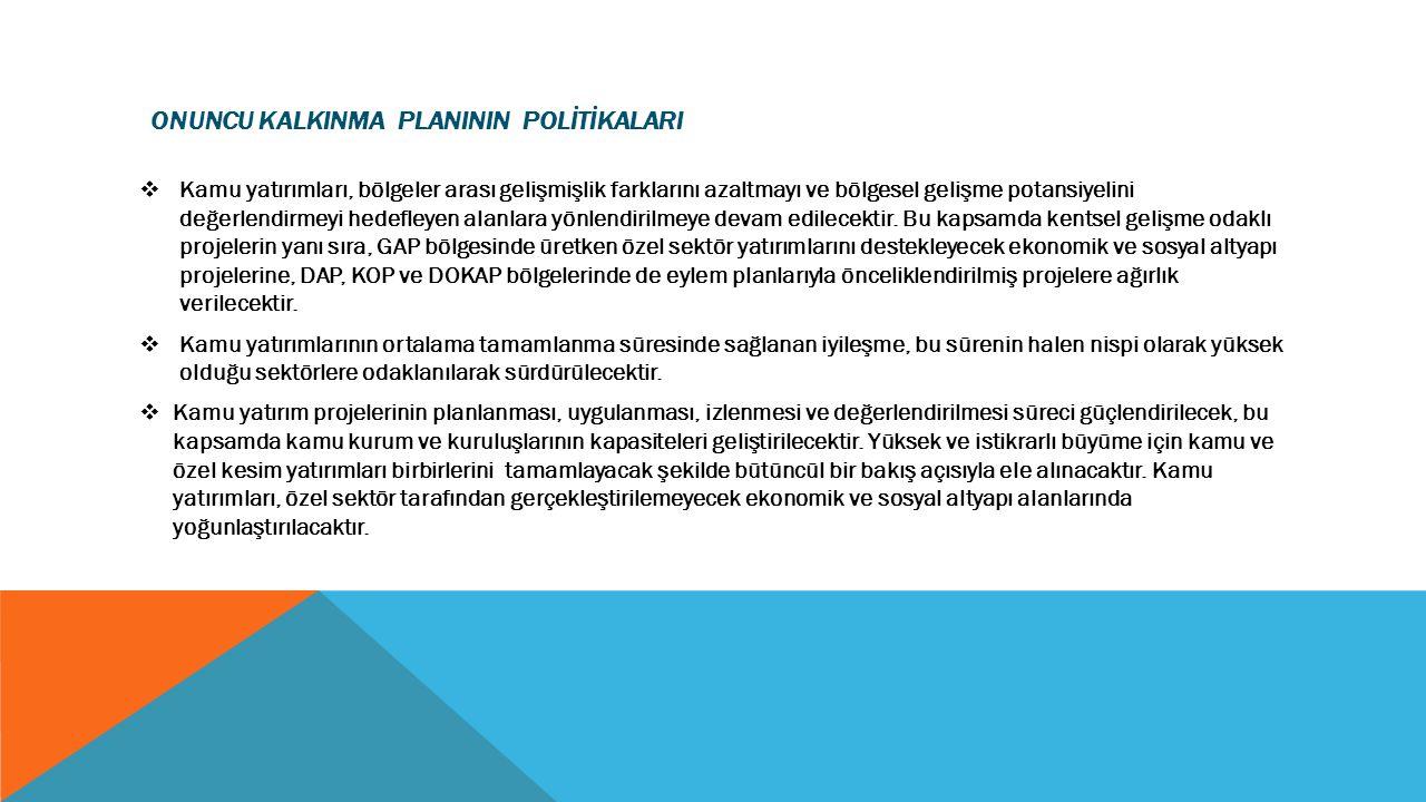 ONUNCU KALKINMA PLANININ POLİTİKALARI  Kamu yatırımları, bölgeler arası gelişmişlik farklarını azaltmayı ve bölgesel gelişme potansiyelini değerlendi