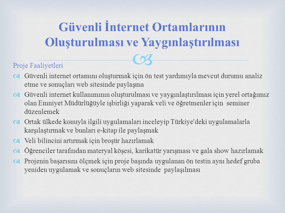 Proje Faaliyetleri  Güvenli internet ortamını oluşturmak için ön test yardımıyla mevcut durumu analiz etme ve sonuçları web sitesinde paylaşma  Güvenli internet kullanımının oluşturulması ve yaygınlaştırılması için yerel ortağımız olan Emniyet Müdürlüğüyle işbirliği yaparak veli ve öğretmenler için seminer düzenlemek  Ortak ülkede konuyla ilgili uygulamaları inceleyip Türkiye deki uygulamalarla karşılaştırmak ve bunları e-kitap ile paylaşmak  Veli bilincini artırmak için broşür hazırlamak  Öğrenciler tarafından materyal köşesi, karikatür yarışması ve gala show hazırlamak  Projenin başarısını ölçmek için proje başında uygulanan ön testin aynı hedef gruba yeniden uygulamak ve sonuçların web sitesinde paylaşılması Güvenli İnternet Ortamlarının Oluşturulması ve Yaygınlaştırılması