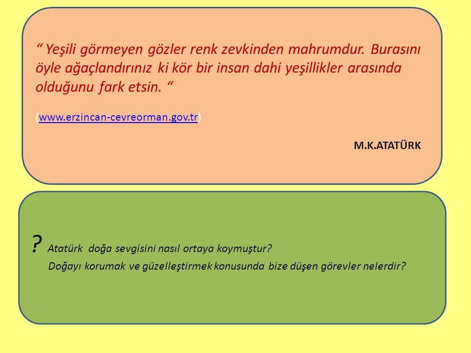 """www.sunumerkezi.com Afet inan Atatürk'ün doğa ve ağaç sevgisi ile ilgili olarak şöyle diyordu: """" 1919 yılında Atatürk Ankara'yı pek az ağaçlı bulmuştu"""