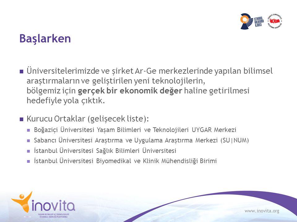 www.inovita.org Başlarken Üniversitelerimizde ve şirket Ar-Ge merkezlerinde yapılan bilimsel araştırmaların ve geliştirilen yeni teknolojilerin, bölgemiz için gerçek bir ekonomik değer haline getirilmesi hedefiyle yola çıktık.