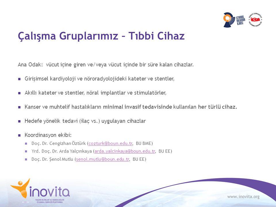 www.inovita.org Çalışma Gruplarımız – Tıbbi Cihaz Ana Odak: vücut içine giren ve/veya vücut içinde bir süre kalan cihazlar. Girişimsel kardiyoloji ve