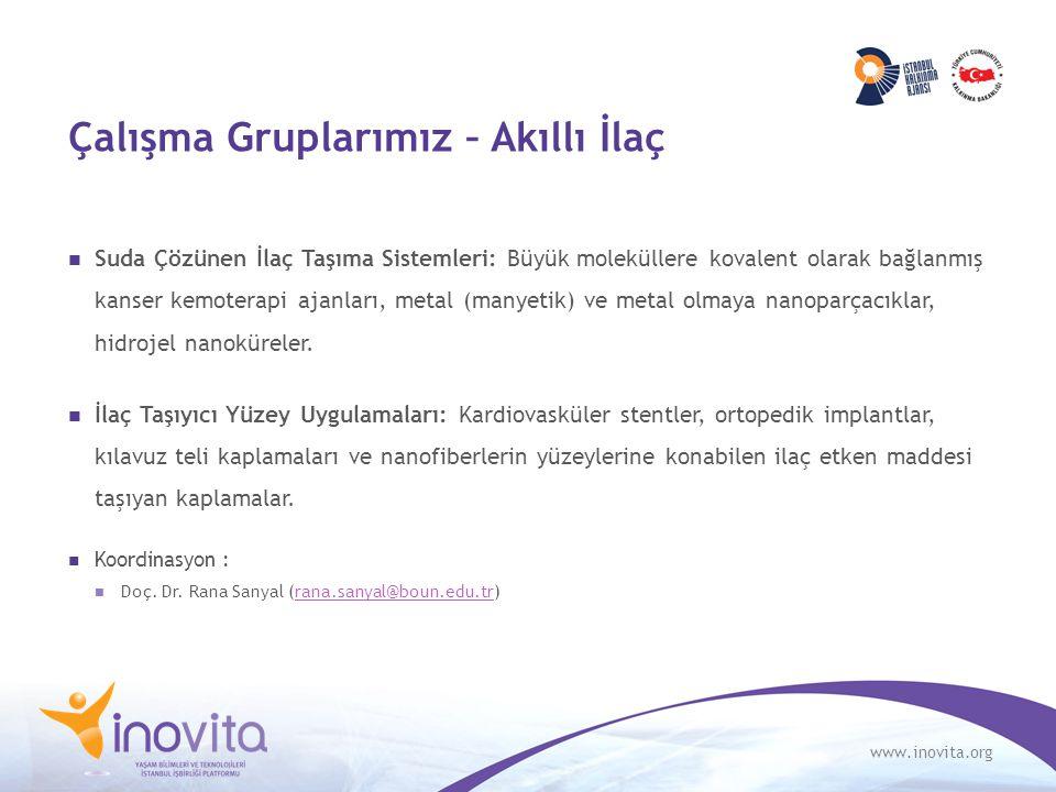 www.inovita.org Çalışma Gruplarımız – Akıllı İlaç Suda Çözünen İlaç Taşıma Sistemleri: Büyük moleküllere kovalent olarak bağlanmış kanser kemoterapi a