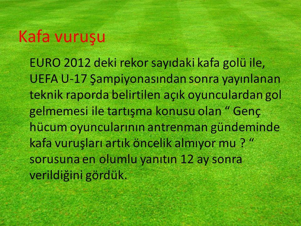 Kafa vuruşu EURO 2012 deki rekor sayıdaki kafa golü ile, UEFA U-17 Şampiyonasından sonra yayınlanan teknik raporda belirtilen açık oyunculardan gol gelmemesi ile tartışma konusu olan Genç hücum oyuncularının antrenman gündeminde kafa vuruşları artık öncelik almıyor mu .