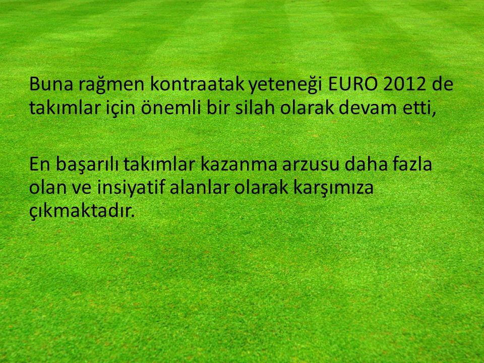 Buna rağmen kontraatak yeteneği EURO 2012 de takımlar için önemli bir silah olarak devam etti, En başarılı takımlar kazanma arzusu daha fazla olan ve insiyatif alanlar olarak karşımıza çıkmaktadır.