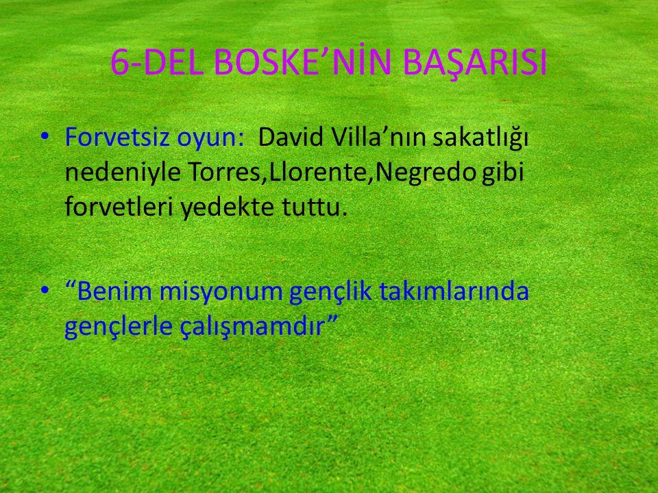 6-DEL BOSKE'NİN BAŞARISI Forvetsiz oyun: David Villa'nın sakatlığı nedeniyle Torres,Llorente,Negredo gibi forvetleri yedekte tuttu.