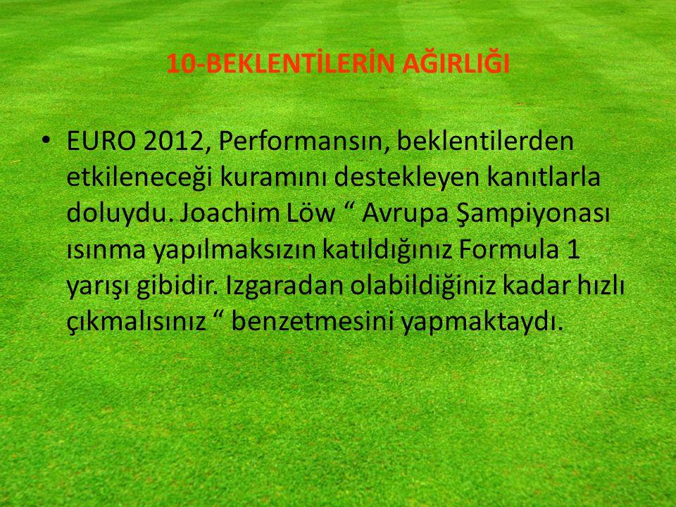10-BEKLENTİLERİN AĞIRLIĞI EURO 2012, Performansın, beklentilerden etkileneceği kuramını destekleyen kanıtlarla doluydu.
