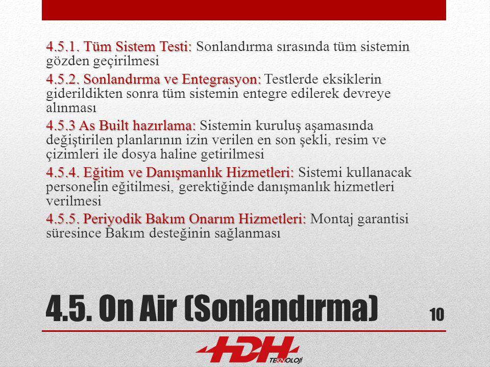 4.5. On Air (Sonlandırma) 4.5.1. Tüm Sistem Testi: 4.5.1. Tüm Sistem Testi: Sonlandırma sırasında tüm sistemin gözden geçirilmesi 4.5.2. Sonlandırma v