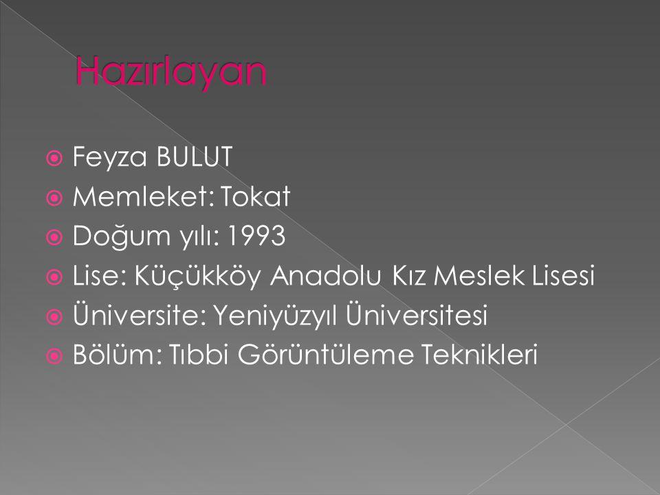  Feyza BULUT  Memleket: Tokat  Doğum yılı: 1993  Lise: Küçükköy Anadolu Kız Meslek Lisesi  Üniversite: Yeniyüzyıl Üniversitesi  Bölüm: Tıbbi Gör