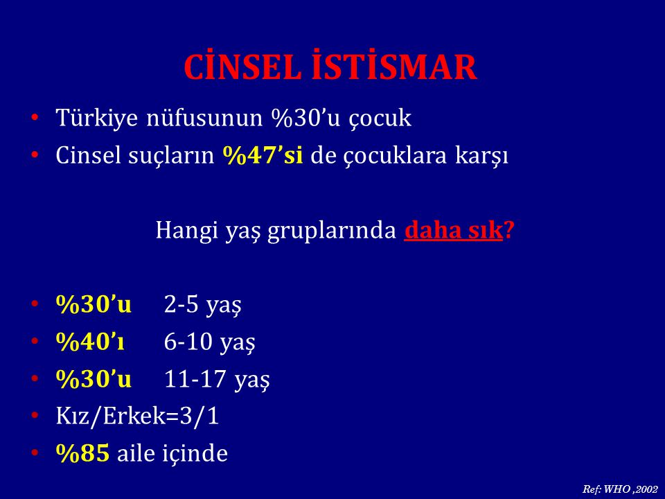 Türkiye nüfusunun %30'u çocuk Cinsel suçların %47'si de çocuklara karşı Hangi yaş gruplarında daha sık? %30'u 2-5 yaş %40'ı 6-10 yaş %30'u11-17 yaş Kı