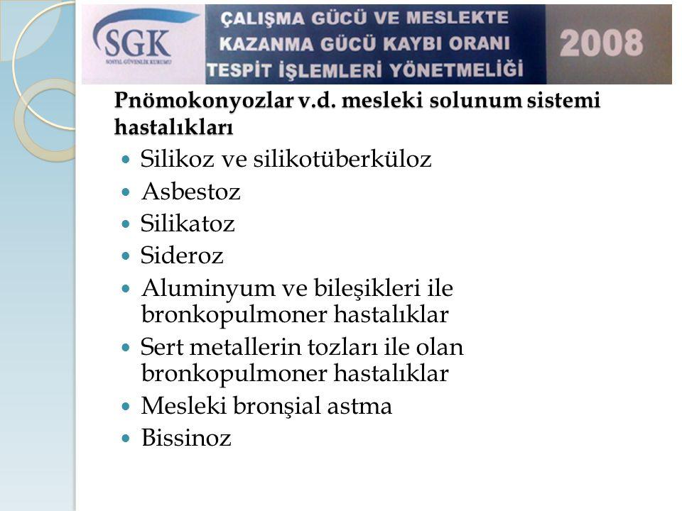Pnömokonyozlar v.d. mesleki solunum sistemi hastalıkları Silikoz ve silikotüberküloz Asbestoz Silikatoz Sideroz Aluminyum ve bileşikleri ile bronkopul