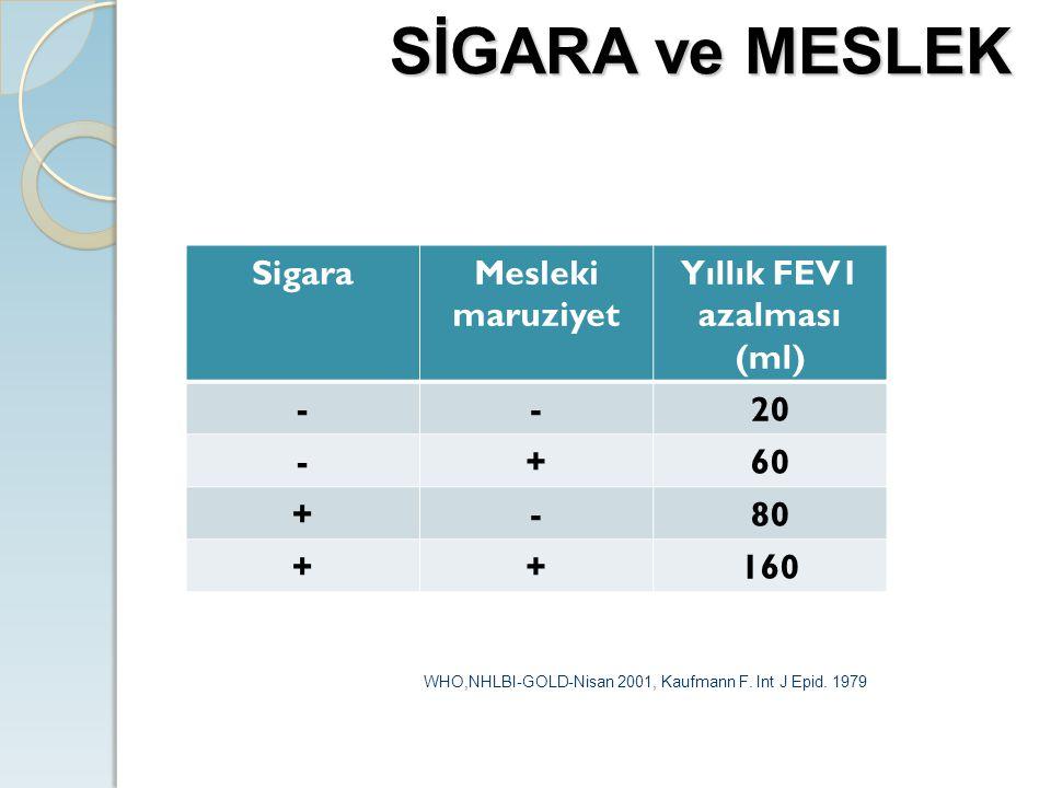 SigaraMesleki maruziyet Yıllık FEV1 azalması (ml) --20 -+60 +-80 ++160 WHO,NHLBI-GOLD-Nisan 2001, Kaufmann F. Int J Epid. 1979 SİGARA ve MESLEK
