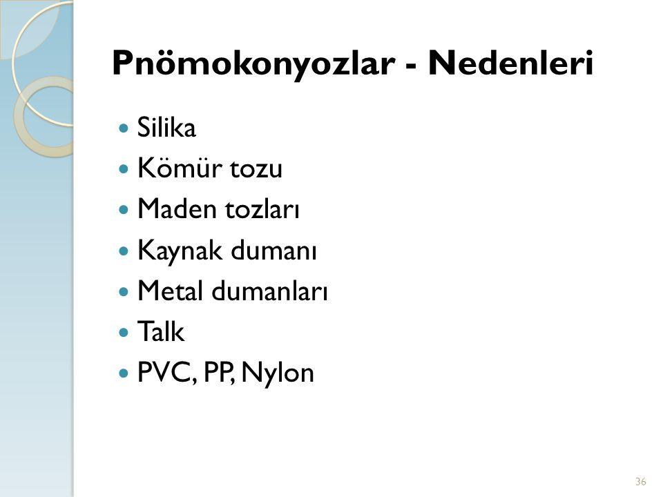 Pnömokonyozlar - Nedenleri 36 Silika Kömür tozu Maden tozları Kaynak dumanı Metal dumanları Talk PVC, PP, Nylon