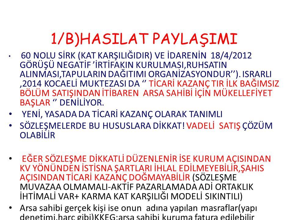 1/B)HASILAT PAYLAŞIMI 60 NOLU SİRK (KAT KARŞILIĞIDIR) VE İDARENİN 18/4/2012 GÖRÜŞÜ NEGATİF 'İRTİFAKIN KURULMASI,RUHSATIN ALINMASI,TAPULARIN DAĞITIMI O