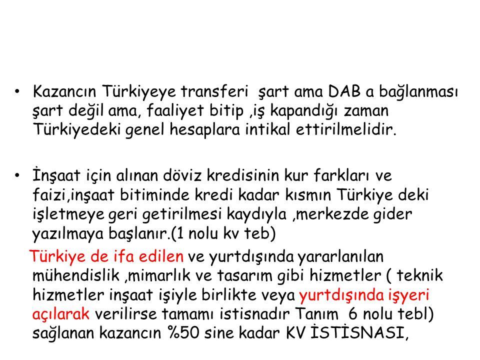 Kazancın Türkiyeye transferi şart ama DAB a bağlanması şart değil ama, faaliyet bitip,iş kapandığı zaman Türkiyedeki genel hesaplara intikal ettirilme