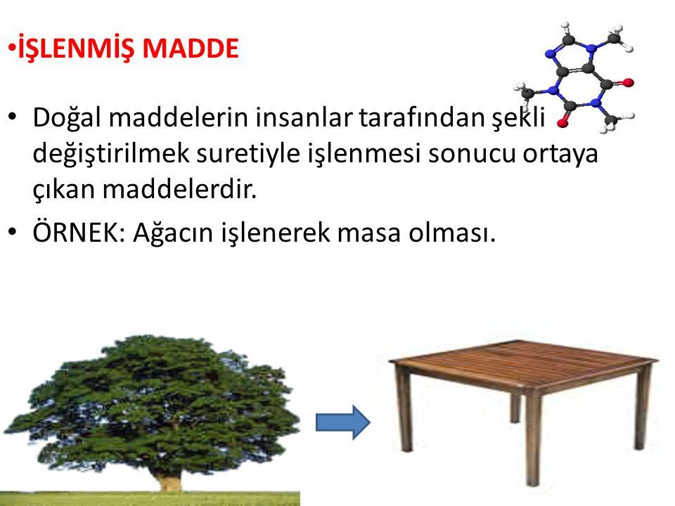 İŞLENMİŞ MADDE Doğal maddelerin insanlar tarafından şekli değiştirilmek suretiyle işlenmesi sonucu ortaya çıkan maddelerdir. ÖRNEK: Ağacın işlenerek m