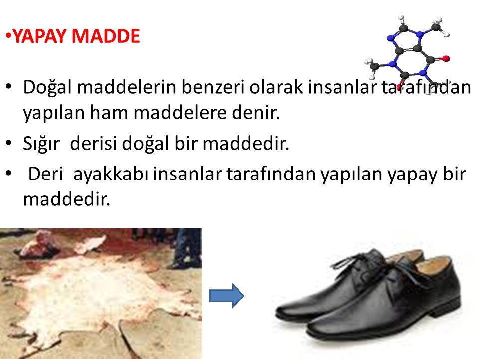 YAPAY MADDE Doğal maddelerin benzeri olarak insanlar tarafından yapılan Doğal maddelerin benzeri olarak insanlar tarafından yapılan ham maddelere deni