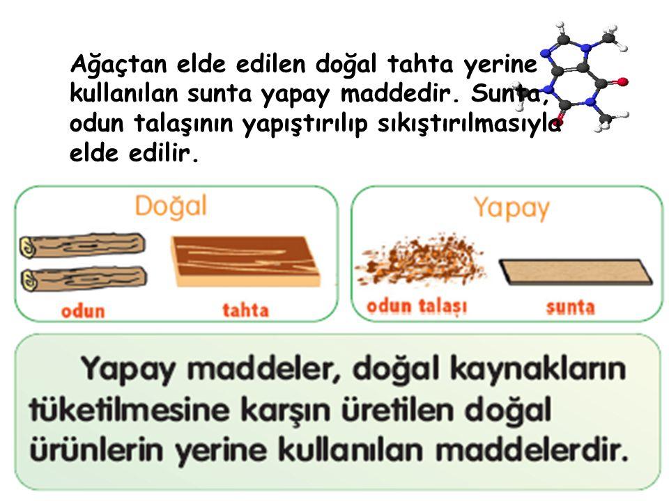 Ağaçtan elde edilen doğal tahta yerine kullanılan sunta yapay maddedir. Sunta, odun talaşının yapıştırılıp sıkıştırılmasıyla elde edilir.