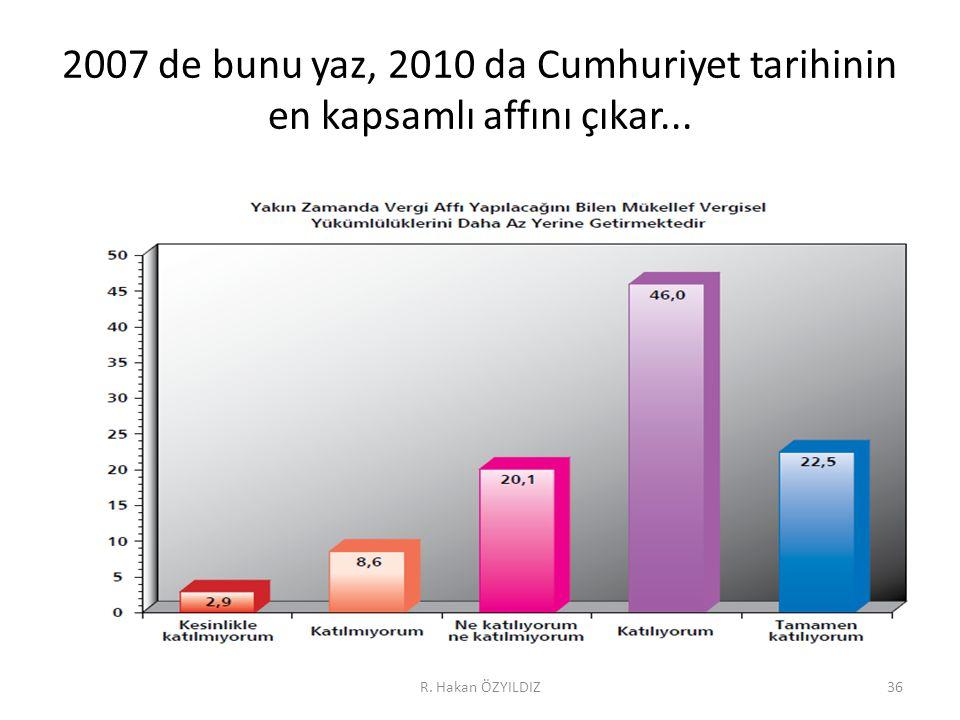 2007 de bunu yaz, 2010 da Cumhuriyet tarihinin en kapsamlı affını çıkar... R. Hakan ÖZYILDIZ36