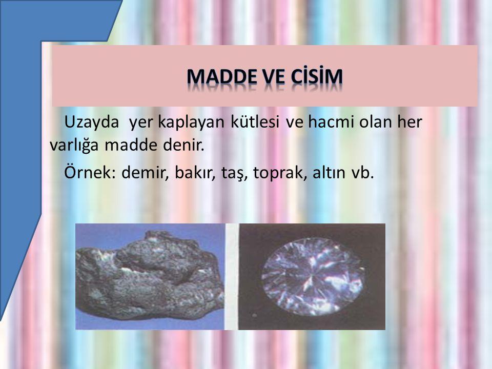 Cisim Maddelerin şekil almış haline cisim denir.Demir maddedir.