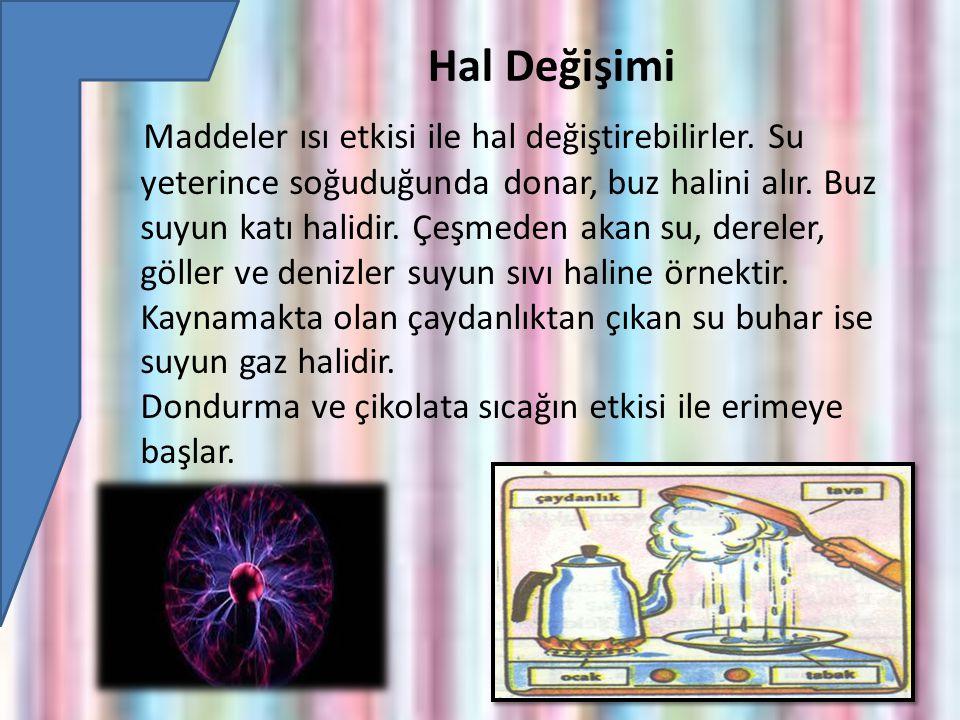 Hal Değişimi Maddeler ısı etkisi ile hal değiştirebilirler.