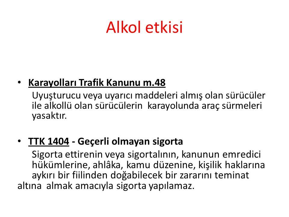 Alkol etkisi Karayolları Trafik Kanunu m.48 Uyuşturucu veya uyarıcı maddeleri almış olan sürücüler ile alkollü olan sürücülerin karayolunda araç sürmeleri yasaktır.