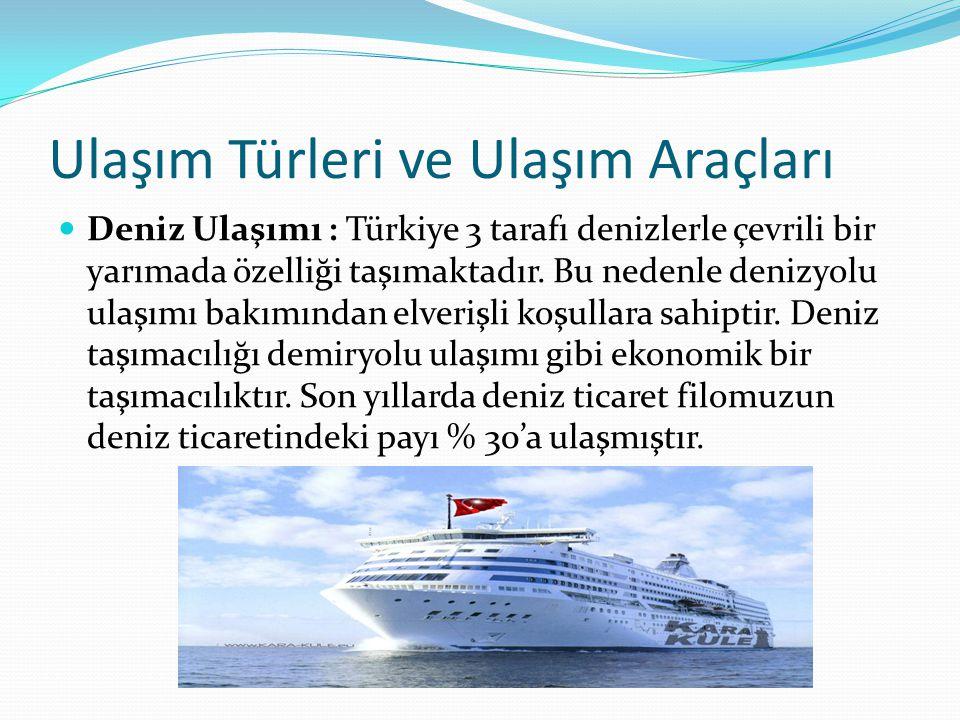 Ulaşım Türleri ve Ulaşım Araçları Deniz Ulaşımı : Türkiye 3 tarafı denizlerle çevrili bir yarımada özelliği taşımaktadır.