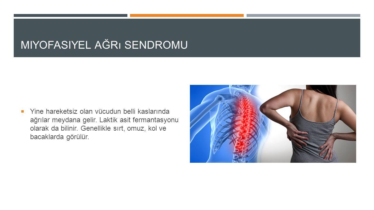 MIYOFASIYEL AĞRı SENDROMU  Yine hareketsiz olan vücudun belli kaslarında ağrılar meydana gelir. Laktik asit fermantasyonu olarak da bilinir. Genellik