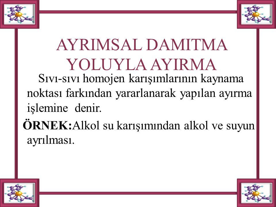 AYRIMSAL DAMITMA YOLUYLA AYIRMA Sıvı-sıvı homojen karışımlarının kaynama noktası farkından yararlanarak yapılan ayırma işlemine denir. ÖRNEK:Alkol su