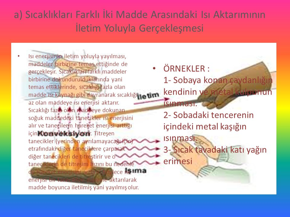 a) Sıcaklıkları Farklı İki Madde Arasındaki Isı Aktarımının İletim Yoluyla Gerçekleşmesi Isı enerjisinin iletim yoluyla yayılması, maddeler birbirine