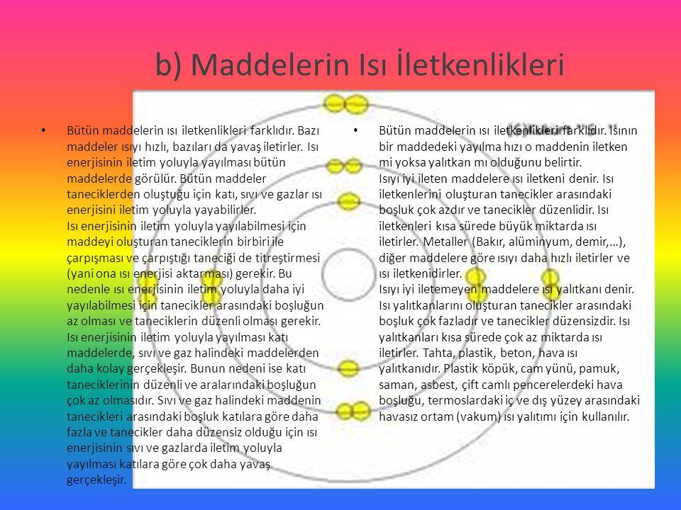 b) Maddelerin Isı İletkenlikleri Bütün maddelerin ısı iletkenlikleri farklıdır. Bazı maddeler ısıyı hızlı, bazıları da yavaş iletirler. Isı enerjisini