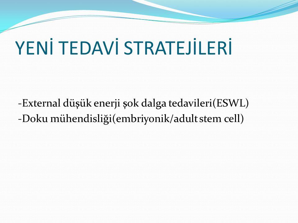 YENİ TEDAVİ STRATEJİLERİ -External düşük enerji şok dalga tedavileri(ESWL) -Doku mühendisliği(embriyonik/adult stem cell)