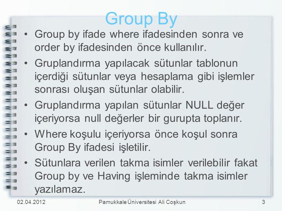 Group By Group by ifade where ifadesinden sonra ve order by ifadesinden önce kullanılır. Gruplandırma yapılacak sütunlar tablonun içerdiği sütunlar ve