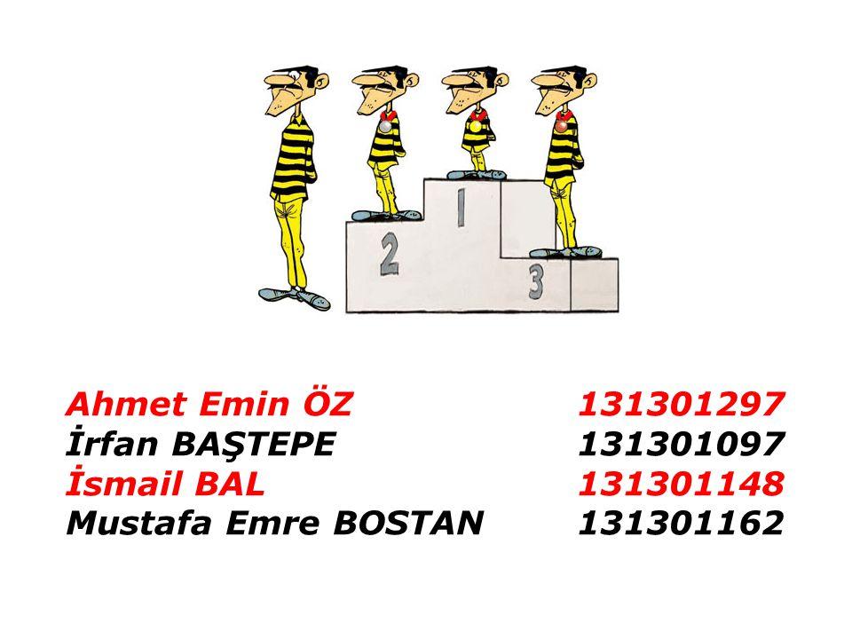 Ahmet Emin ÖZ131301297 İrfan BAŞTEPE131301097 İsmail BAL131301148 Mustafa Emre BOSTAN131301162