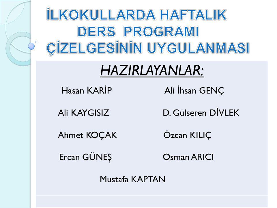 HAZIRLAYANLAR: Hasan KAR İ P Ali İ hsan GENÇ Ali KAYGISIZ D.