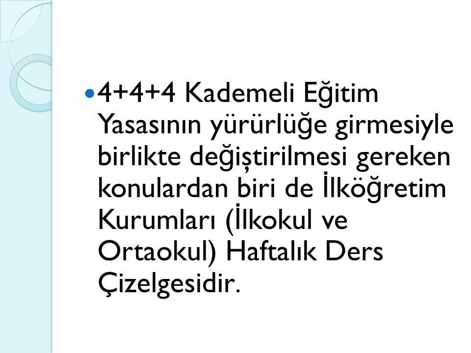 4+4+4 Kademeli E ğ itim Yasasının yürürlü ğ e girmesiyle birlikte de ğ iştirilmesi gereken konulardan biri de İ lkö ğ retim Kurumları ( İ lkokul ve Ortaokul) Haftalık Ders Çizelgesidir.