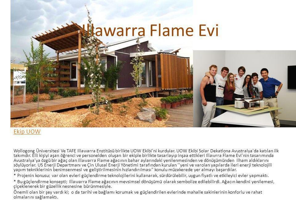 Tasarım Illawarra Flame Evi nin tasarımı; su verimliliğini, güneş enerjisi kullanımı, pasif tasarım ve ileri havalandırma sistemini vurgulayan niteliğiyle Avustralya nın doğal çevresini yapıcı niteliktedir.