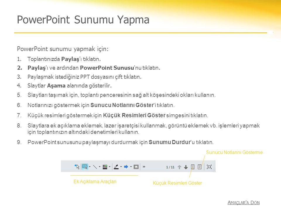PowerPoint Sunumu Yapma PowerPoint sunumu yapmak için: 1.Toplantınızda Paylaş'ı tıklatın. 2.Paylaş'ı ve ardından PowerPoint Sunusu'nu tıklatın. 3.Payl