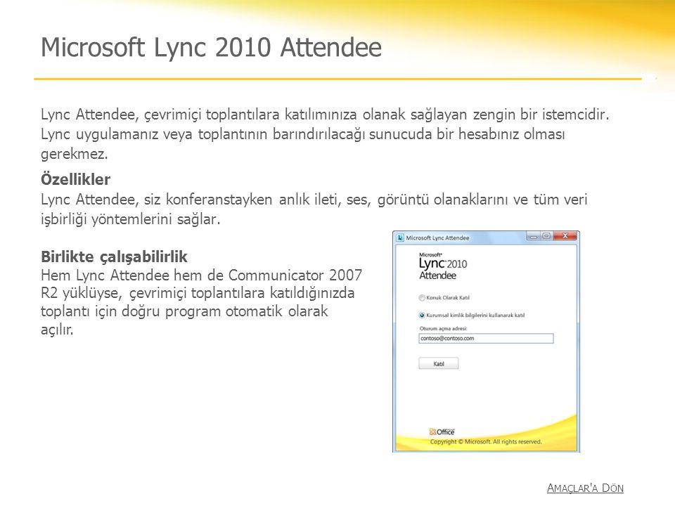 Microsoft Lync 2010 Attendee Lync Attendee, çevrimiçi toplantılara katılımınıza olanak sağlayan zengin bir istemcidir. Lync uygulamanız veya toplantın