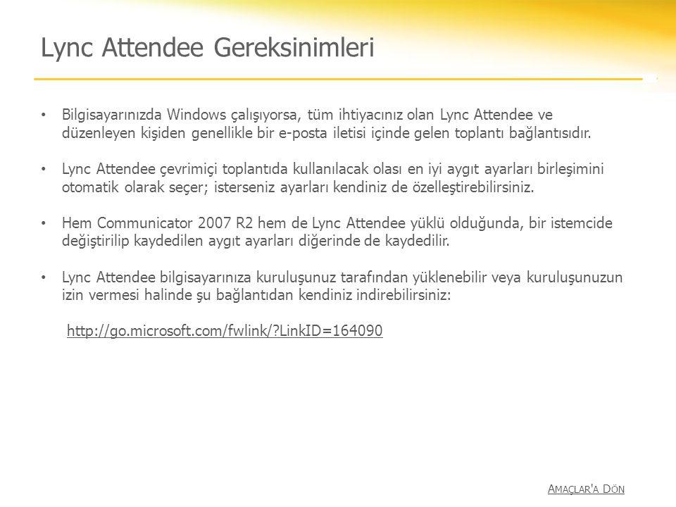Lync Attendee Gereksinimleri Bilgisayarınızda Windows çalışıyorsa, tüm ihtiyacınız olan Lync Attendee ve düzenleyen kişiden genellikle bir e-posta ile