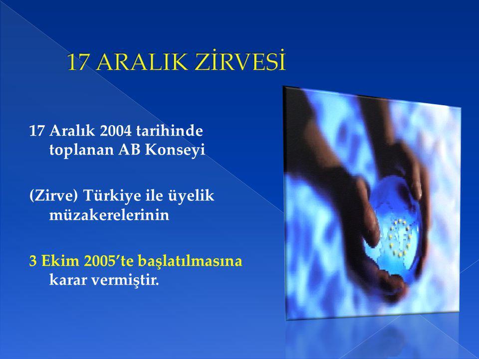 17 Aralık 2004 tarihinde toplanan AB Konseyi (Zirve) Türkiye ile üyelik müzakerelerinin 3 Ekim 2005'te başlatılmasına karar vermiştir.