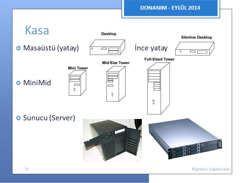 DONANIM - EYLÜL 2014 Kasa  Masaüstü (yatay) İnce yatay  MiniMid  Sunucu (Server) 13 Bilgisayar Uygulamaları