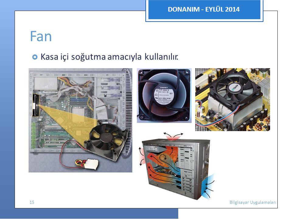 DONANIM - EYLÜL 2014 Fan  Kasa içi soğutma amacıyla kullanılır. 15 Bilgisayar Uygulamaları