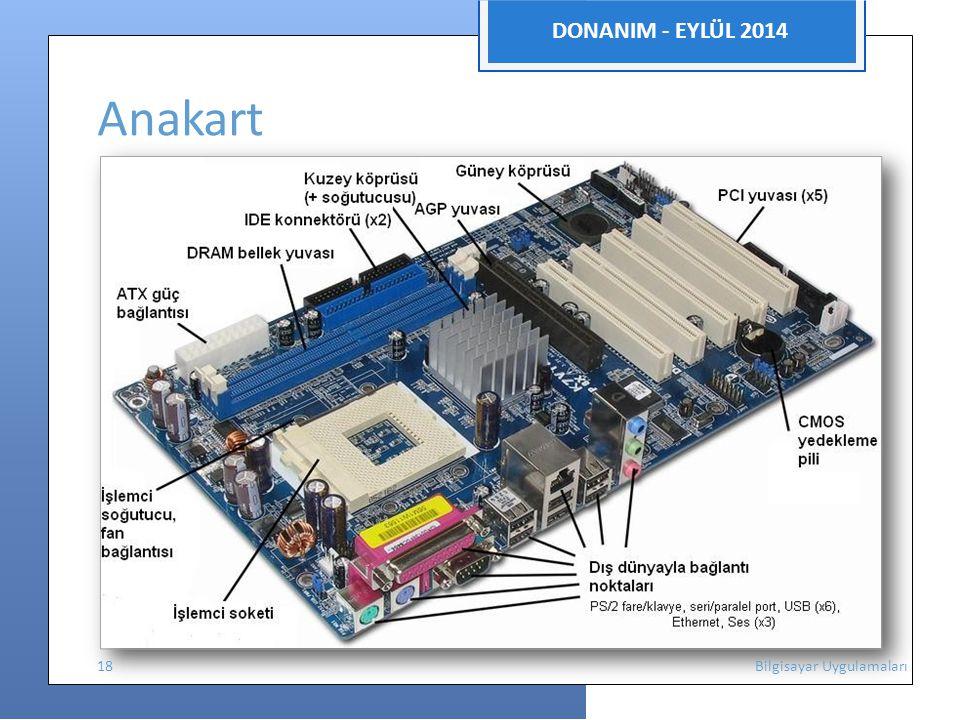DONANIM - EYLÜL 2014 Anakart 18 Bilgisayar Uygulamaları