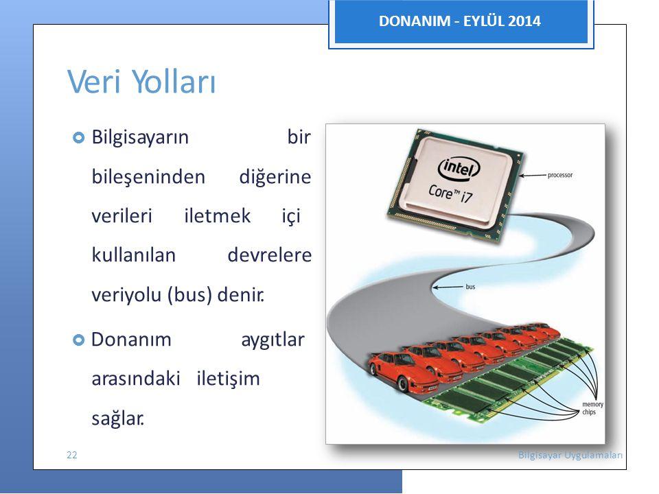 nıinıi DONANIM - EYLÜL 2014 Veri Yolları  Bilgisayarın bir bileşenindendiğerine verileri iletmek içi kullanılan devrelere veriyolu (bus) denir.