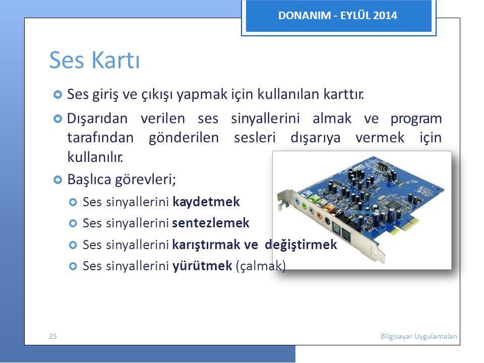DONANIM - EYLÜL 2014 Ses Kartı  Ses giriş ve çıkışı yapmak için kullanılan karttır.