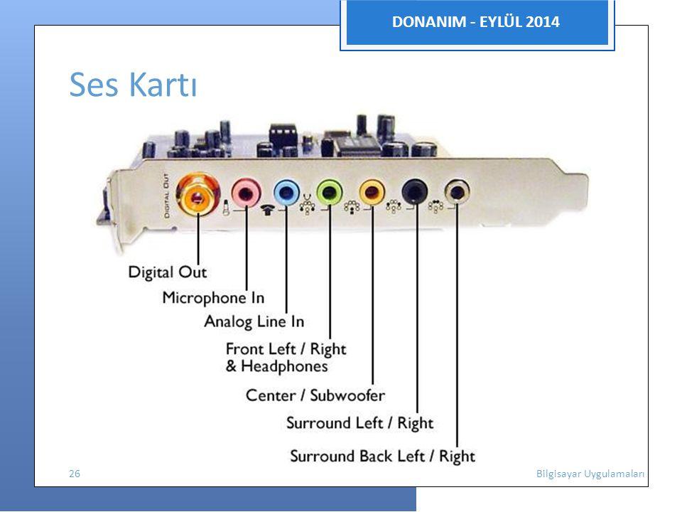 DONANIM - EYLÜL 2014 Ses Kartı 26 Bilgisayar Uygulamaları