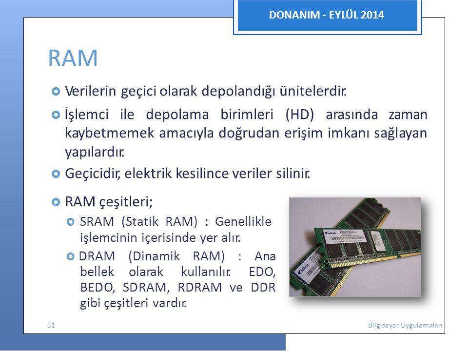 DONANIM - EYLÜL 2014 RAM  Verilerin geçici olarak depolandığı ünitelerdir.