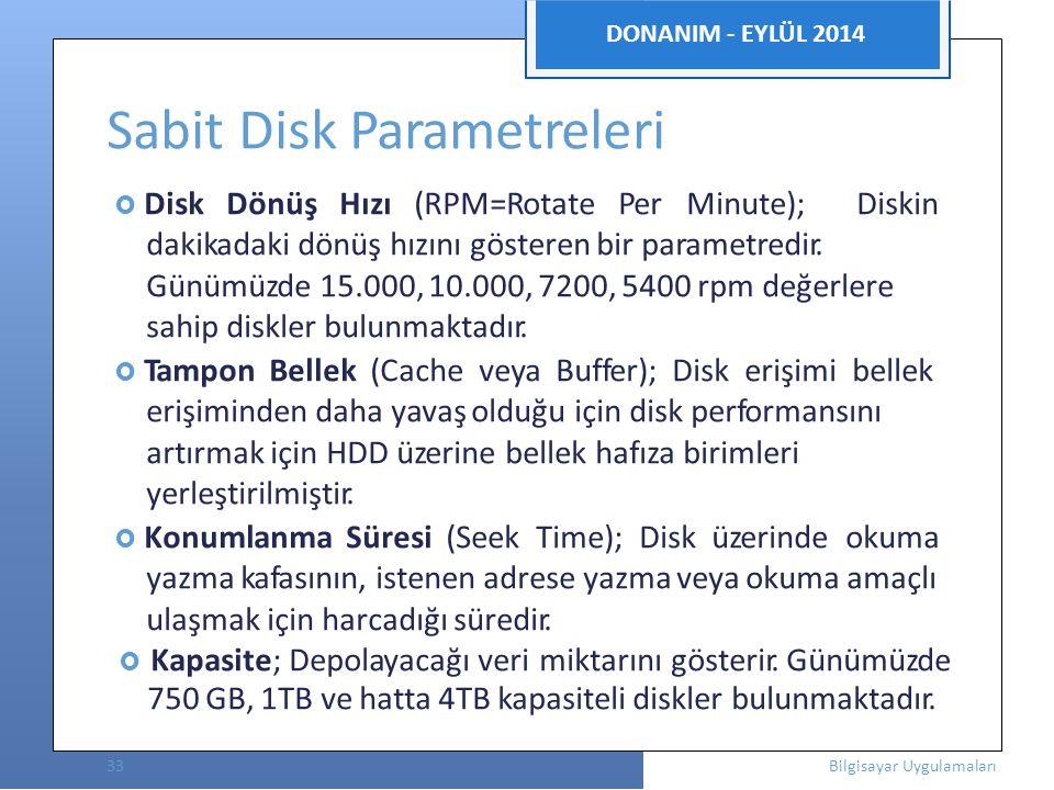 DONANIM - EYLÜL 2014 Sabit Disk Parametreleri  Disk Dönüş Hızı (RPM=Rotate Per Minute); Diskin dakikadaki dönüş hızını gösteren bir parametredir.