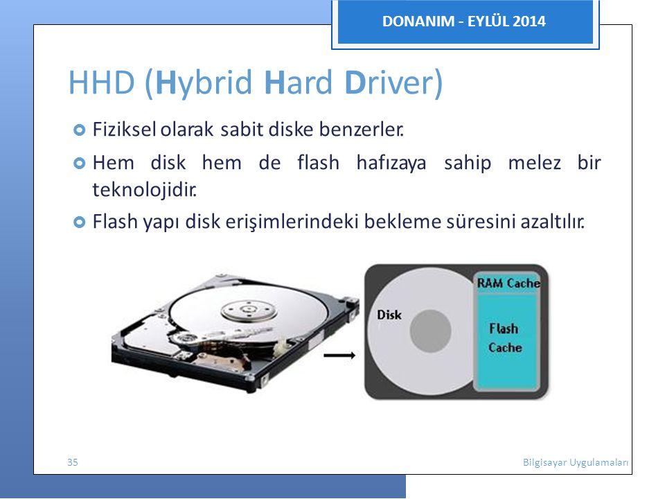 DONANIM - EYLÜL 2014 HHD (Hybrid Hard Driver)  Fiziksel olarak sabit diske benzerler.